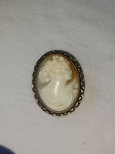 Antique Sterling Silver Female Portrait w/ flowers Cameo Pendant Pin Brooch