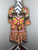 MILLY OF NEW YORK Purple Brown Yellow Tribal Ikat 3/4 Sleeve Linen Dress Size 10