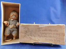 Vintage 1920s Antique Celluloid Crochet Knit Romper Baby Doll Rattle Toy & Box