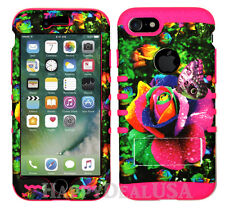 For Apple iPhone KoolKase Hybrid Silicone Cover Case - Rainbow Rose Butterfly 59