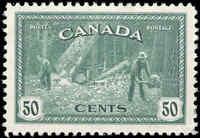 Canada Mint H F-VF Scott #272 1946 50c Logging, B.C. Peace Issue Stamp