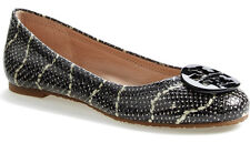 NIB TORY BURCH Reva Mojave Print Leather Logo Ballet Flat Size 9 Black/Ivory NEW