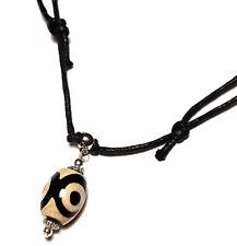 3 yeux Dzi Bead Collier Tour de cou Agate Gemstone réglable Cordon Tibétain Amulette