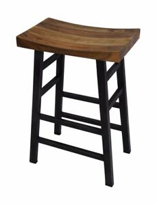 The Urban Port Wooden Saddle Seat 30 Inch Bar stool With Ladder Base