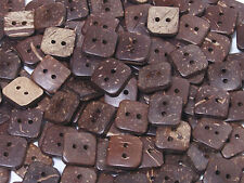 B098 Natural Coconut Square Shape Sewing Craft Art DIY Buttons 12mm 50pcs