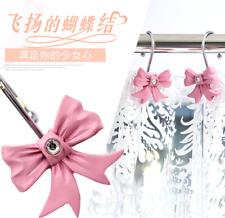 New Lovely 12pcs Pink Girls Bowknot Bling Resin Decorative Shower Curtain Hooks