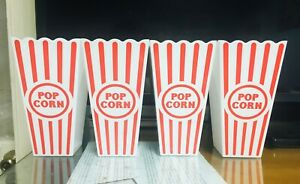 Reusable Retro Popcorn Bucket Bowls Movie Tub Plastic. Lot of 4. A+Seller