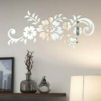Mirror Flower Art Removable Wall Sticker Acrylic Mural Decal Home Room Decor H7
