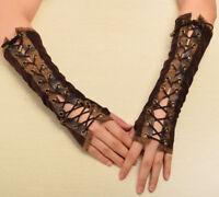1pr Lolita Steampunk Armband Vintage Victorian Tie-Up Mittens Cosplay Gloves