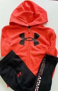 Under Armour Little Boys Box Logo Hoodie & Pant Set Versa Red Multi Sz 7 - NWT