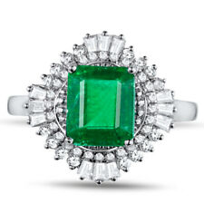 Natural Colombia Emerald Diamond Engagement Women Ring Solid 14K White Gold