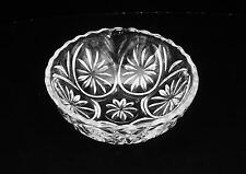 Clear Pressed Glass Floral Pattern Salad Dessert Candy Nut Condiment Bowl PUC