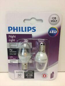 Philips C7 Candelabra LED Night-Light Bulb 120 Volt  - 1 set of 2 bulbs