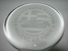 HELLINIC AIR FORCE-LOCKHEED MARTIN RECEPTION~Crystal Glass etched Paperweight