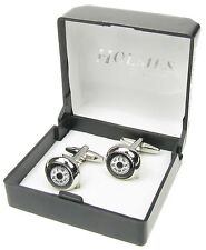 WORKING COMPASS CUFF LINKS MENS SILVER SHIRT XMAS GIFTBOX NEW UK FREE POSTAGE