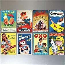 Vintage Manifesti Pubblicitari calamite da frigo - Set di 8 grande