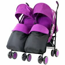 Double Purple Twin Stroller Pram Pushchair Buggy Complete Rain Cover Footmuff