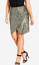 CITY CHIC S 16 NWT RRP $119.95 SKIRT DAZZLE ME GOLD SEQUIN PARTY