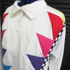 Colorful 80s Shirt Nylon Knit Marcy N Me Oversize Geometric Checkered L XL