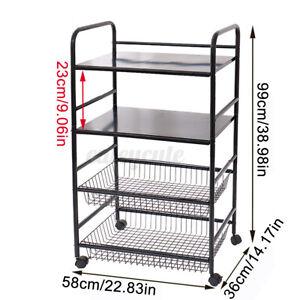 3/4 Tier Multi-function Mesh Storage Rolling Cart Shelf w/Trolley Rack Organizer