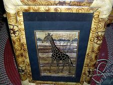 New - Bamboo Framed Giraffe Picture - Made In Indonesia