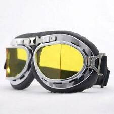 RAF Aviator Motorcycle Biker Cruiser Scooter Pilot Goggles Black Yellow lens