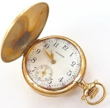 .1908 WALTHAM DIAMOND ENCRUSTED 14K GOLD 0S 15J LADIES POCKET WATCH, WORKING.