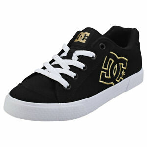 DC Shoes Chelsea Tx Womens Black Gold Textile Casual Trainers