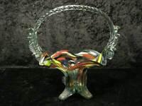 Grande Glaskorb/Vetro Cestino Con Screziature - Vintage - Circa 1970 - 27,5 CM