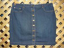 CHAPS Dark Blue Stretch Denim Jean Knee Length Button Front Skirt Size 16 NEW