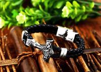 Handgefertigtes Echtleder Armband mit Thorhammer Wikinger Odin Thor Mjölnir