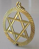 "Vintage 9ct Yellow Gold Circular ""Star Of David"" (1.4g) Charm/Pendant"