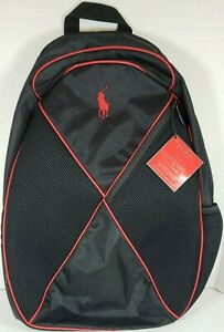 Ralph Lauren Polo The Red Backpack Black New with Tags Bottle Holder