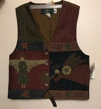 NWT Orvis Women's Button Vest  Winter Christmas Red Green Light Weight S Small