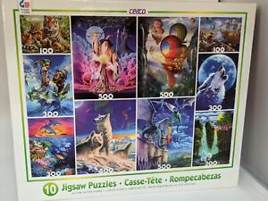 Ceaco Glow in the Dark 10 Jigsaw Puzzles Bundle Box Brand New Factory Sealed