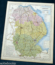 LINCOLNSHIRE - Original Antique County Map  - LETTS - 1884, cloth mounted.