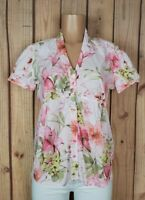 CARIBBEAN JOE Womens Size Medium Petite Short Sleeve Shirt Floral Print Top