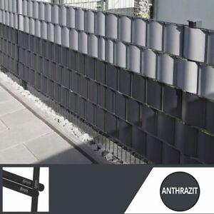 Doppelstabmattenzaun mit Sichtschutz anthrazit RAL7016 stabile Ausführung 8/6/8