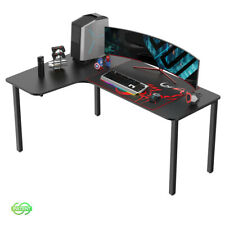 Eureka 60 Inch Computer Gaming Desk L Shaped Home Office Multi Function, Black