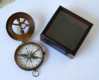 "Nautical Antique Brass 3"" West London Compass Camping Sundial With Wooden Box"