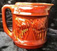 "Early Brush McCoy ""Avenue of Trees"" Rockingham Style Glaze Pitcher"