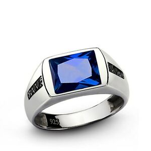 Real 925 Silver Mens Ring with Blue Sapphire and 8 Natural Onyx Gemstone Accents