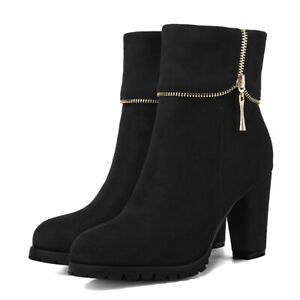 Women's Winter Short Boots  Zip Pointed Toe Suede Chunky High Heel Ankle Bootie