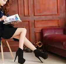 US-8 Womens Stilettos Platform Sude Ankle Boots Round Toe Back Zip High Heel New
