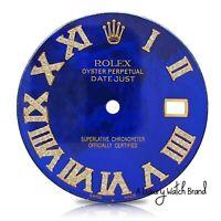 Diamond Roman Numeral Blue Dial Datejust Rolex Mens 36mm watch 1/2 CT.