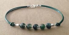 MOSS AGATE Beads, Green Leather Cord, Silver Plated Friendship Bracelet