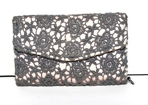 Blue Floral Crochet on Pale Pink Cotton with Blue Faux Leather  Organizer Wallet