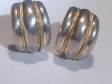 Sterling Silver&2 Strands of 14K Roped Gold Clip-On Piercing Earrings By M/B
