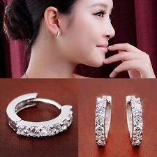 Fashion Women Jewelry 925 Silver Elegant Ear Stud Clip-On Dangle Earrings