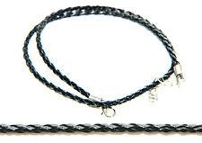 Genuine Leather COLLANA Nero Intrecciato tessuti cord Stringhe con fibbia argento